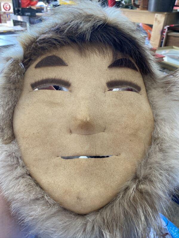 Vintage Alaska Native Eskimo Made Mask Red Fox Fur Wall Art Original Owner 1996