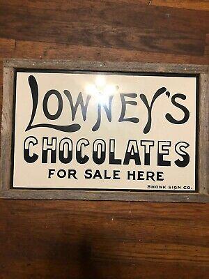 Vintage Lowney's Chocolates For Sale Framed Metal Sign Not Porcelain