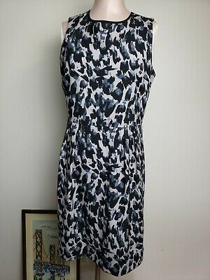 Ann Taylor Loft Dress Size 8 Dress Black Gray A Line Cheetah Animal Print Career