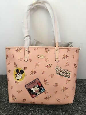 Coach Disney Minnie Mouse Floral Reversible Tote Bag New With Tags