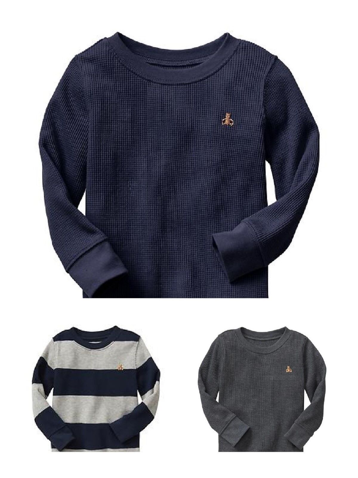 New Boys Baby Gap Thermal Long sleeve Waffle Knit tee Stripe Blue