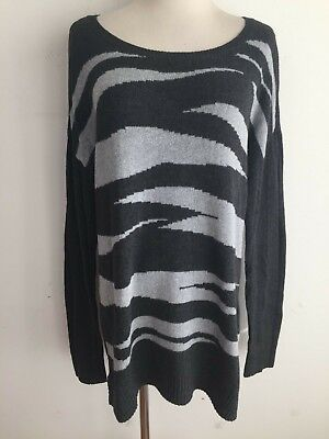 Ann Taylor LOFT Jewel Neck Cotton-Blend Tunic Sweater Light & Dark Gray Size XL Cotton Jewel Neck Sweater