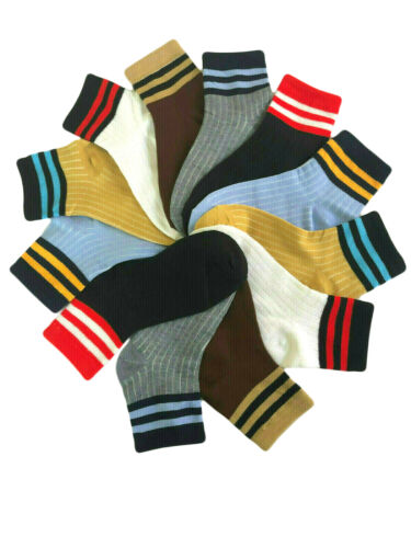 12 Pairs Little Boy Toddler Kids Low Cut Quarter Ankle Cotton Socks 2-8 Years