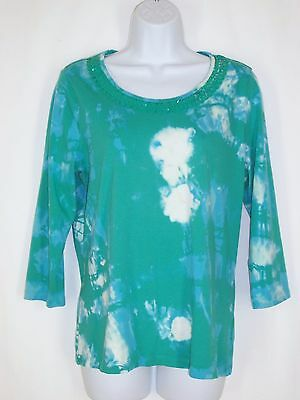 Coldwater Creek Blue Green Tie Dye Top sz M 10-12 Sequin Neckline