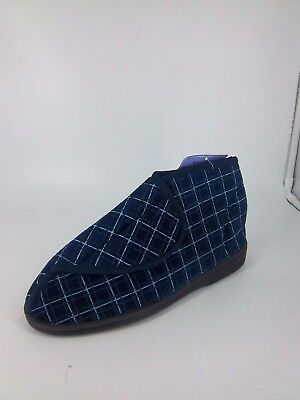 Men's Washable Slipper Boot's Touch and  Checked Navy UK 8 EU 42 NH087 NN 03