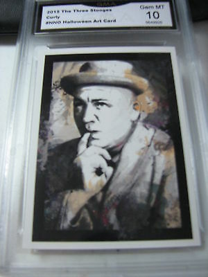 CURLY HOWARD 2015 CHRONICLES OF THE THREE 3 STOOGES HALLOWEEN ART GRADED 10 B - Three Stooges Halloween