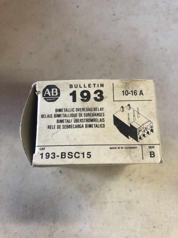 Allen Bradley 193-BSC15 Series B Overload Relay 10-16 Amp