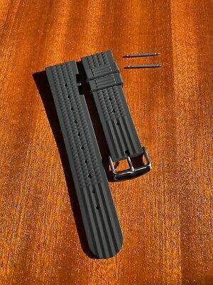 Rubber Waffle Watchband Watch Strap Sport / Diving 22mm *UK Seller* Black