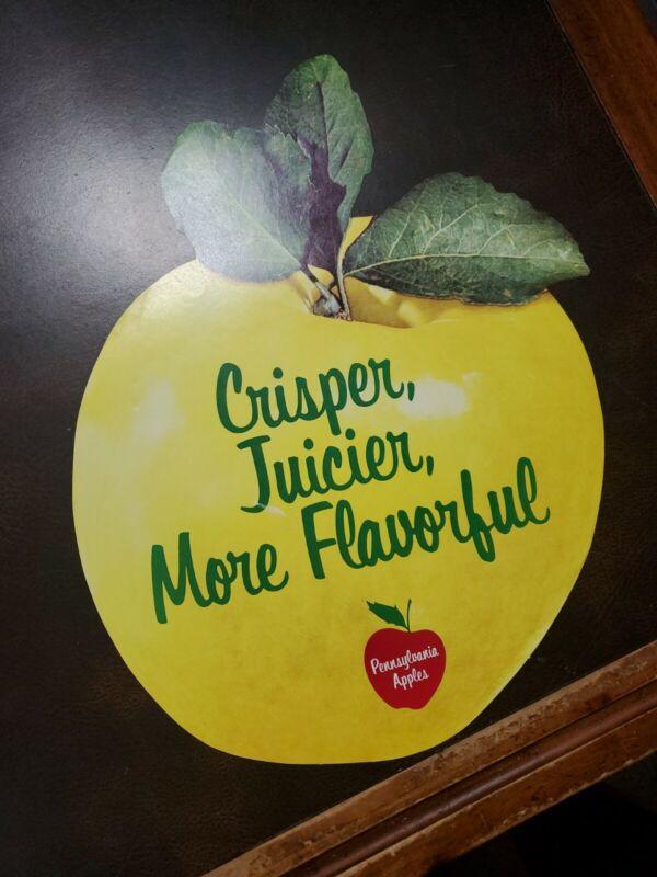 "Vintage 1960s Pennsylvania Apples Farm Store Display 2x Sided Window 15"" Sign"