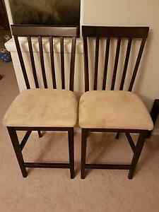 8 dining chairs- wood and beige microfibre