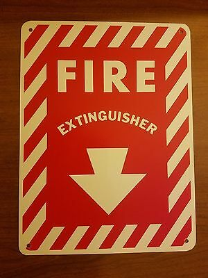 Fire Extinguisher Metal Sign With Holes 9x12 Arrow Down New Free Shipping