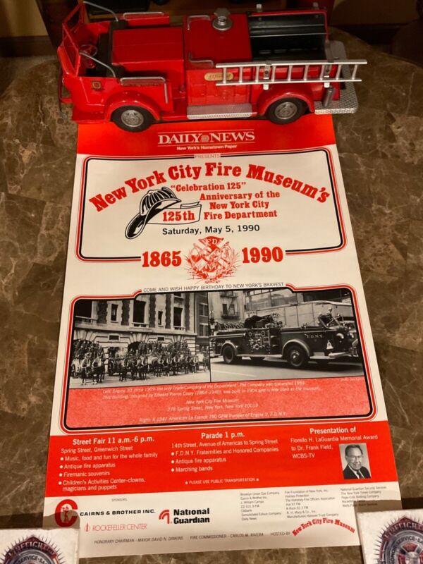 Vintage FDNY Celebration 125/125th Anniversary Poster