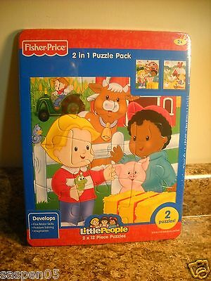 Fisher Price LITTLE PEOPLE Puzzle 2 Pack FARM  12 Pieces Each NEW