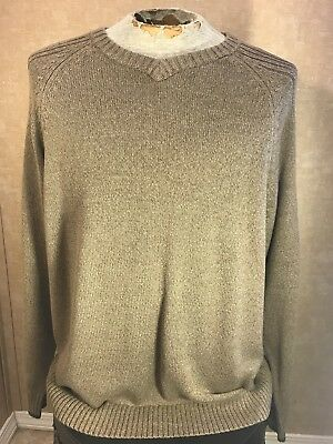 EUC Columbia Sportswear Mens XL Sweater Knit Crew Neck Ribbed Tan Classic - Columbia Sportswear Classic Sweater