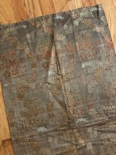 "18th century French brown gold silk floral brocaded fabric (37"" x 19"")"