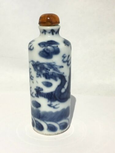Fine Estate Antique Vintage Chinese Blue White Porcelain Snuff Bottle Dragons