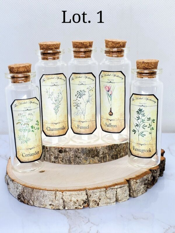 APOTHECARY GLASS BOTTLES WITH LABELS FOR HERBS PAGAN SPELLS WICCA 15 ML NEW