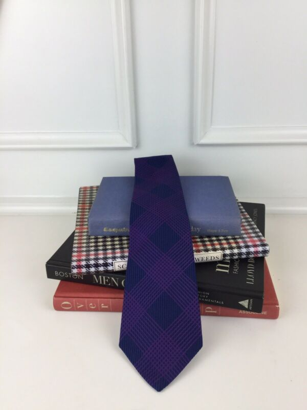 Turnbull & Asser Tie Blue w/ Purple Lines 100 % Silk Made in England