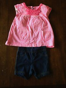 Lot of 4 girls summer outfits. 6-9 mths