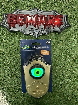 Halloween Door Bell Creepy Witch Scary Doorbell Light Up Eyeball & Beware Sign