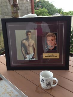 Framed Justin Timberlake autographed picture with certificates