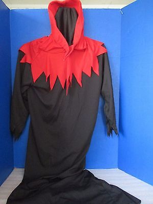 Black w/ Red HOODED GRIM REAPER~Mesh Face~1 Piece Halloween Costume~Adult Small - Halloween Grim Face