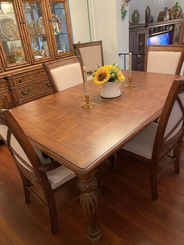 Tommy Bahama style Dining Room Set, Table with 6 Chairs, China Closet and Buffet