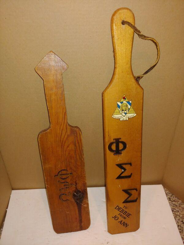 2 Vintage Omega Psi Phi,Sigma Fraternity Sorority MCM Wood Paddle Board,Spank