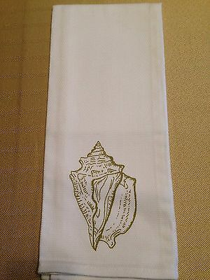 Guest Hand Towel Conch Shell Drawing Cotton White and Gold New w/o Tags