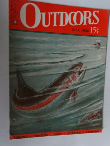 1936 OUTDOORS magazine hunting fishing boating July Trout Scene