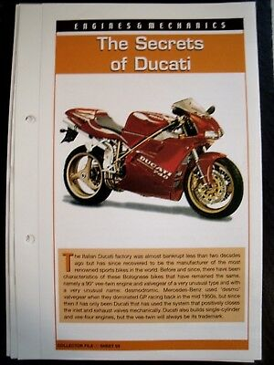 engine & mechanics THE SECRETS OF DUCATI collector file fact sheet.