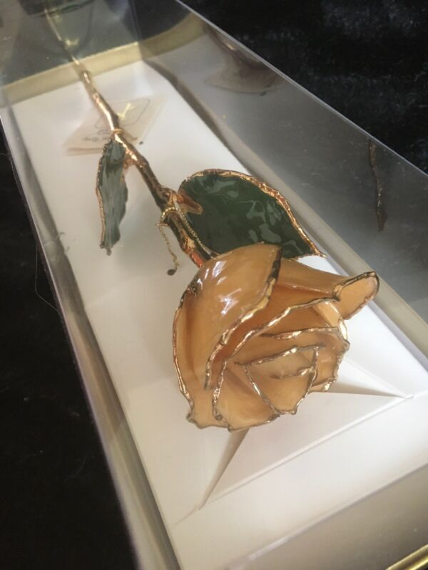 """Real Rose Preserved In 24k Gold Long Stem Yellow Friendship Laquered Natural 11"""""""