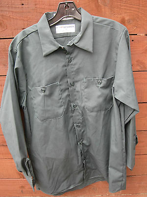 Aramark  4Pc   Mens Medium Green Long Sleeve Work Shirts  Super Condition