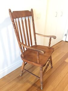 PINE WOOD PORCH CHAIR VINTAGE CANADIAN DINING SIDE OFFICE CHAIR