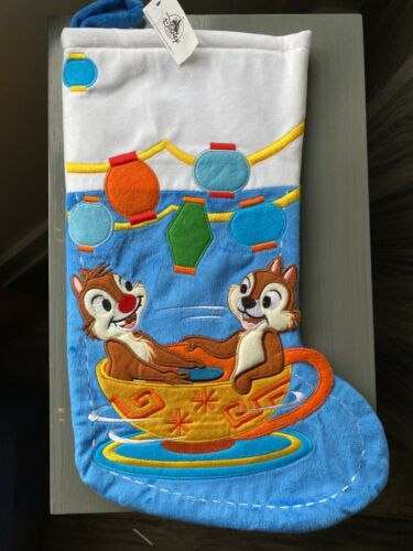 New Disney Parks Chip & Dale Christmas Stocking Holiday Mad Tea Cups !!!