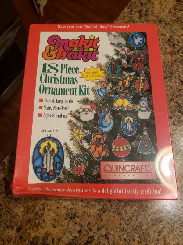 Vintage Quincrafts Makit & Bakit 18 Pc Stained Glass Christmas Ornament Kit New