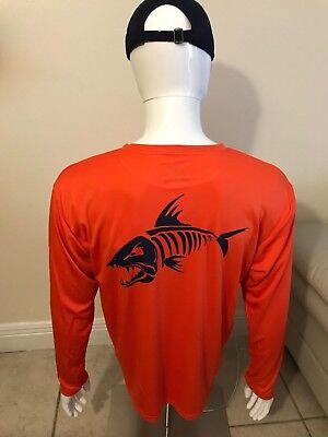 Men's customized fish design dri fit orange long sleeve (Fishing Shirt). ()