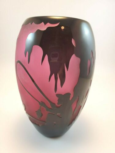 Gibson Sand Carved Plum and Black Vase Boy Fishing