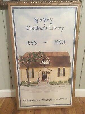 "framed Noyes Children's Library print poster 19x32"" 100th anniversary - maryland"