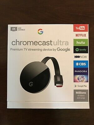 Google Chromecast Ultra 4K HDR Capable, Black, Brand New, Open Box