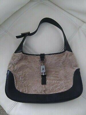 Vintage GUCCI Jackie O Leather Fur Leather Silver Handbag Bag 13 X 8