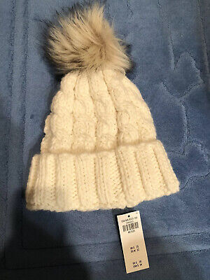 NWT Abercrombie And Fitch White Knit Hat With Pom Pom $30 Cute!