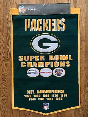 """Green Bay Packers Super Bowl Wool Banner - NFL Dynasty Collection 24""""x 37"""""""