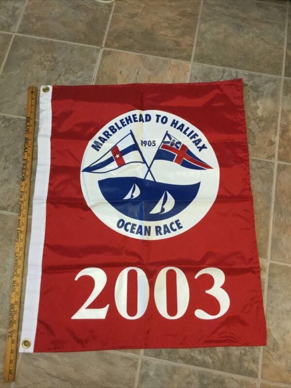 "Rare 27"" x 34"" Nautical Yacht Flag Marblehead to Halifax Ocean Race 2003"