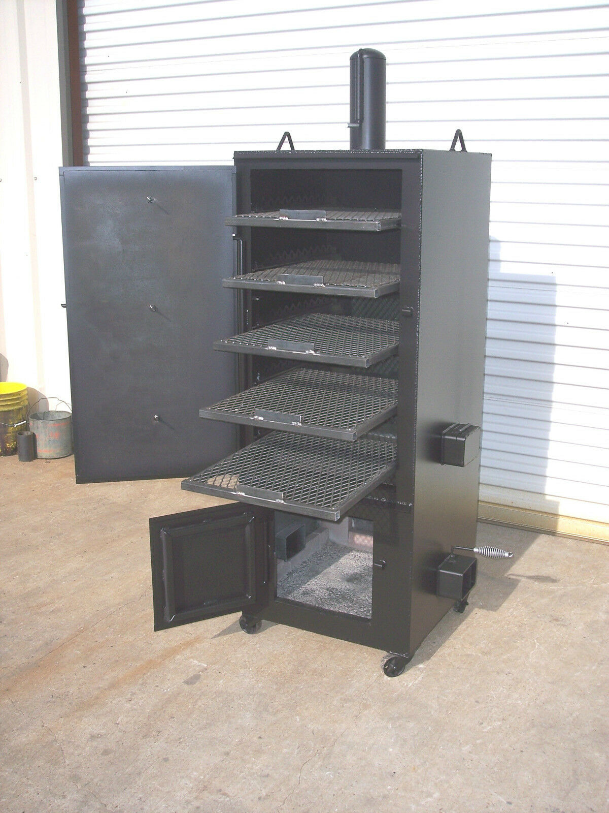 new custom vertical patio bbq pit smoker and charcoal grill model 2x2. Black Bedroom Furniture Sets. Home Design Ideas