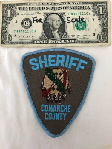 RARE Comanche County Sheriff Oklahoma  Police Patch Un-sewn Patches (brown back)