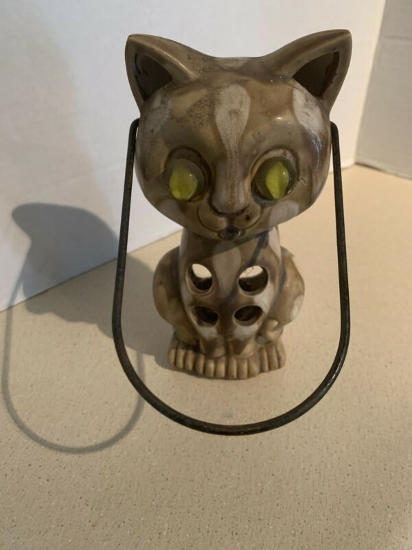 Vtg Halloween Ceramic Cat Lantern Candle Holder Cats Eyes Marbles Made In Japan