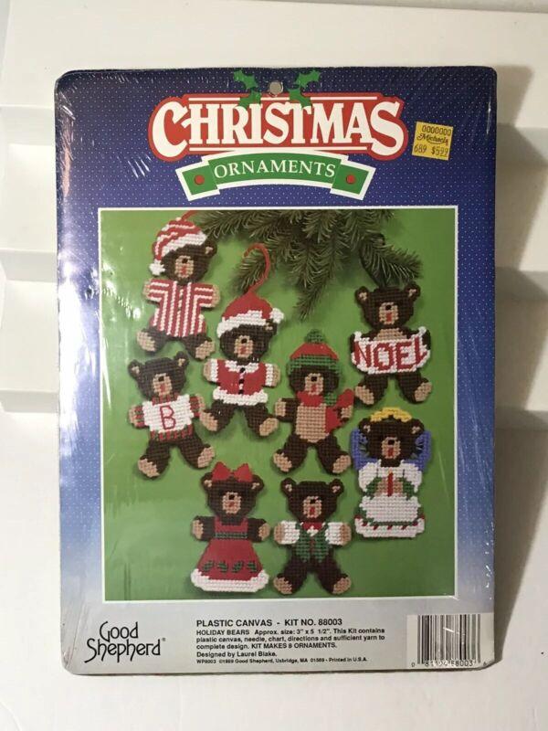 GOOD SHEPHERD 8 CHRISTMAS ORNAMENTS 8 BOY & GIRL BEARS #88003 PLASTIC CANV NIP