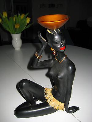seltene 50er Jahre Figur Cortendorf Afrikanerin Keramik schöne Schwarze TOP 29cm