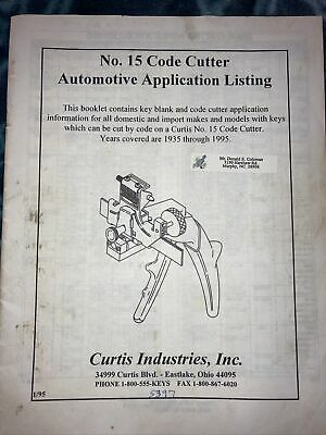 Curtis Key Blank Application Code Cutter Cross Reference Guide 1995